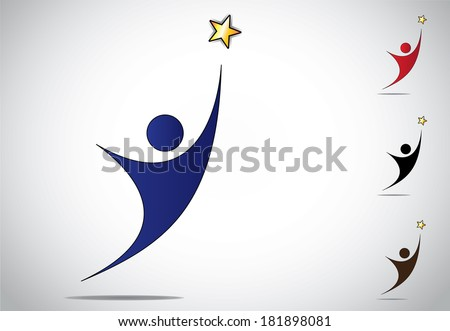 colorful person winning or achievement success symbol icon. an ambitious man or woman reaching out to achieve high goals and golden star with white background - concept design illustration artwork set - stock vector