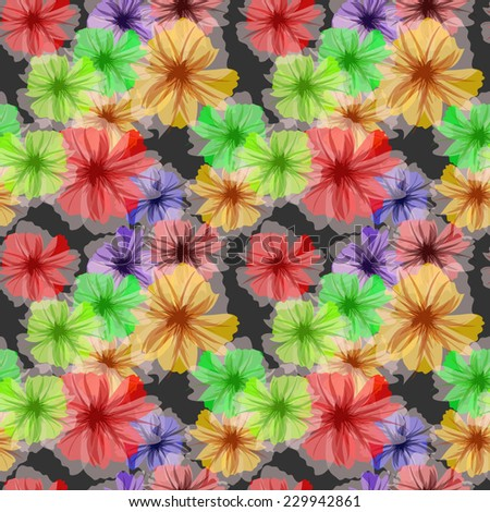 Colorful petunia flowers.Vector background, seamless pattern. Fashion vector illustration. - stock vector