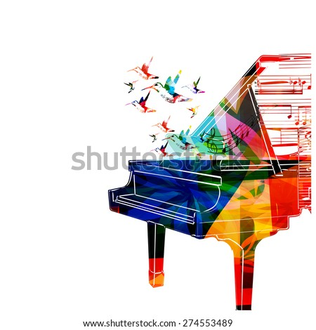 Colorful piano design with hummingbirds - stock vector