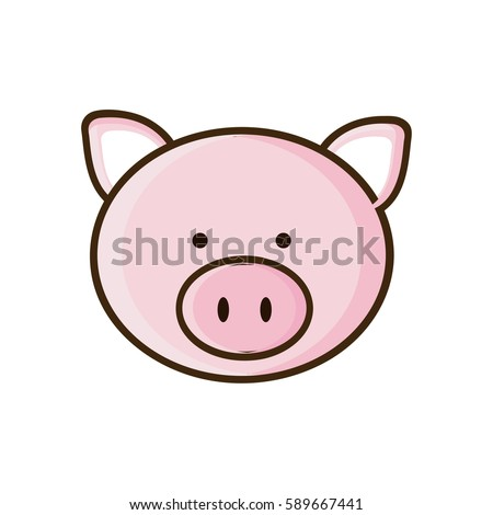 colorful picture face cute pig animal vector illustration