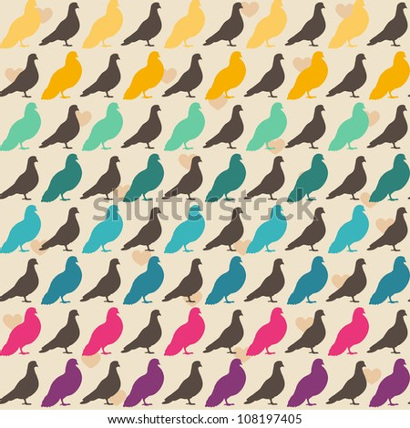 Colorful pigeons seamless pattern. - stock vector