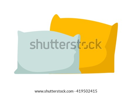 Colorful pillows isolated on white. Comfortable bed pillow isolated and vector bedding fabric pillow isolated. Textile cushion bedroom pillow isolated and softness feather sleep pillow isolated. - stock vector