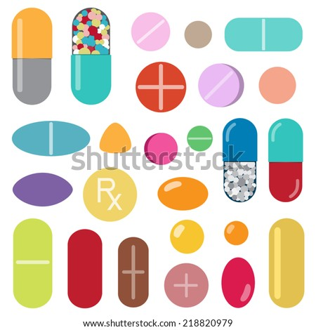 Colorful pills and capsules  - stock vector