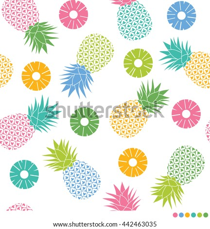 Colorful pineapples and sliced pineapples seamless pattern vector.
