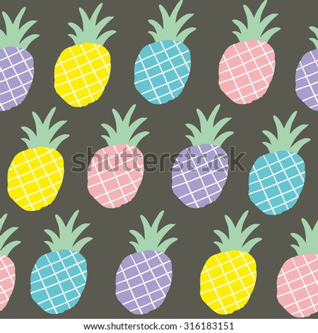 Colorful pineapples  seamless pattern. Vector repeated background. - stock vector