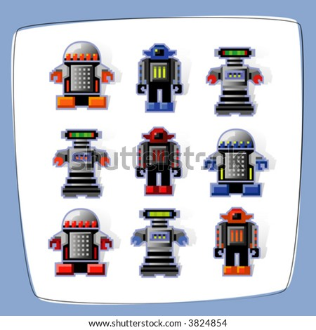 Colorful, pixel art robot icons with cast shadow. Easy-edit vector file. - stock vector