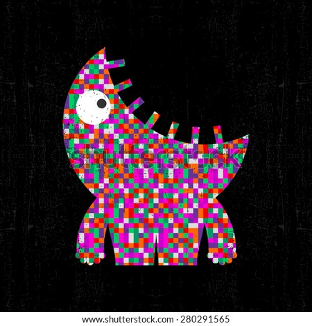 Colorful pixel monster on black grunge background. Vector illustration - stock vector