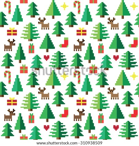 Colorful Pixel Pattern with Christmas Elements - stock vector
