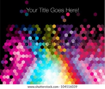 colorful pixellate hexagon design template - stock vector