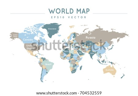 Colorful political world map name borders stock vector 704593012 colorful political world map with the name and borders of the countries gumiabroncs Images