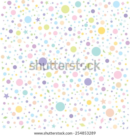 Colorful polka dots and star on white background for kids background, blog, web design, scrapbooks, party, carnival or invitation cards, Vector Illustration EPS 10. - stock vector
