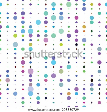 Colorful polka dots circle seamless pattern on white background. - stock vector