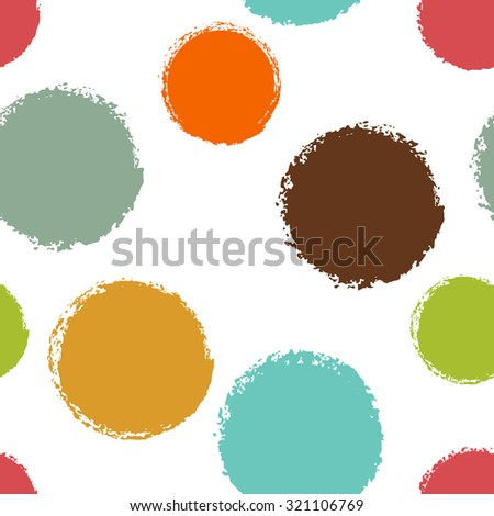 Colorful polka dots seamless with charcoal texture - stock vector