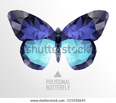 Colorful polygonal butterfly flying. Geometric illustration. Color butterfly flying - stock vector
