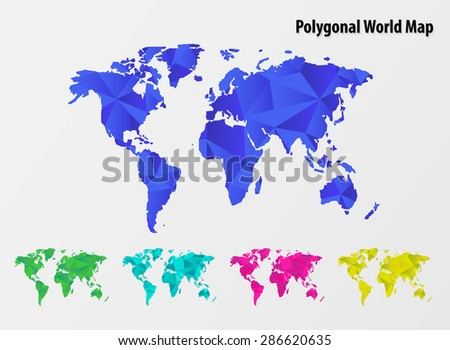 Colorful Polygonal  mosaic World Map set