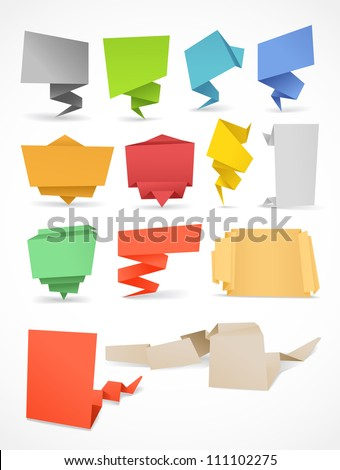 Colorful polygonal origami banners set. Place your text here - stock vector
