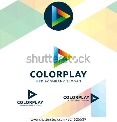 Colorful polygons triangle, painted in the colors of the spectrum - stock vector