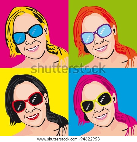 colorful pop art woman background. vector illustration - stock vector
