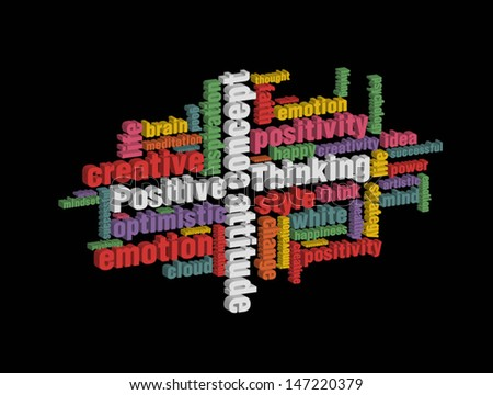 colorful positive thinking wordcloud on dark background - stock vector