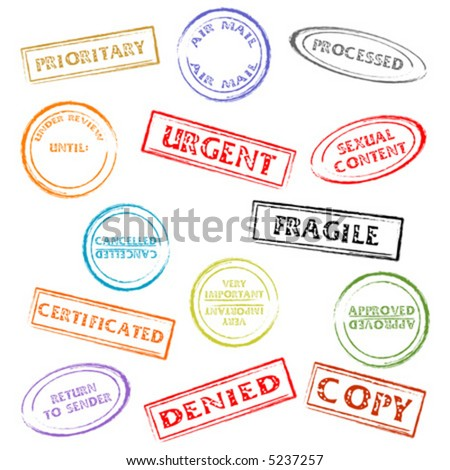 Colorful post or office marks isolated over white background - stock vector