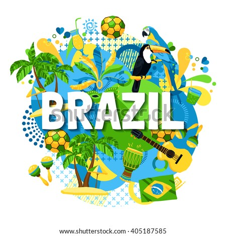 Colorful poster with native symbols of brazil mixed together on the white background vector illustration - stock vector
