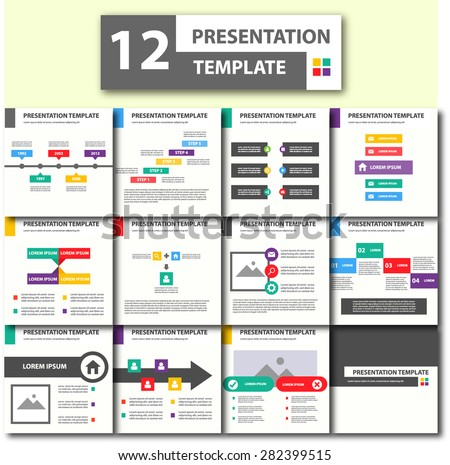 Colorful Presentation Template Brochure Flyer Design Set Black and more color - stock vector