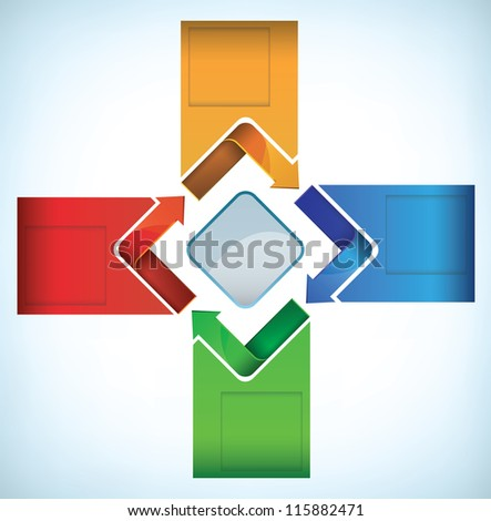 Colorful presentation template with arrows in a cyclic movement - stock vector