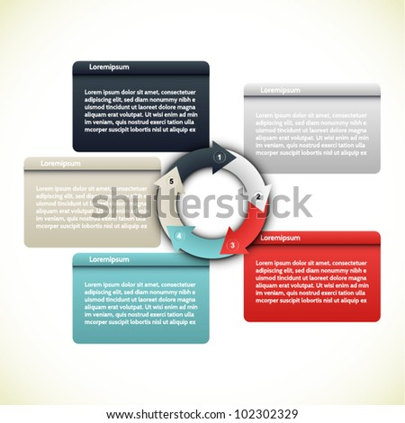 Colorful presentations with five text box - stock vector