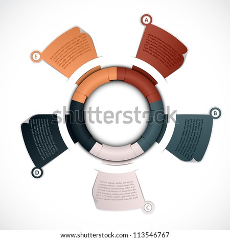 Colorful presentations with five text box, show colorful ribbon promotional products design, vector illustration