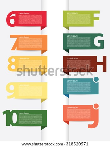 Colorful presentations with letters and numbers the sequel - stock vector