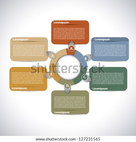 Colorful presentations with 6 text box - stock vector