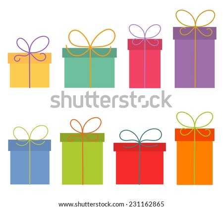 Colorful presents isolated on white background. Vector illustration
