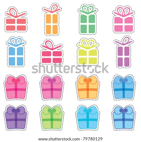Colorful pressie clip art set