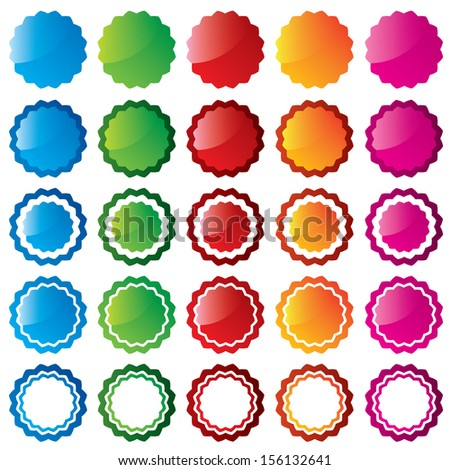 Colorful price sale tags collection. Vector stars. Special offer labels set (blue, green, red, orange, pink). - stock vector