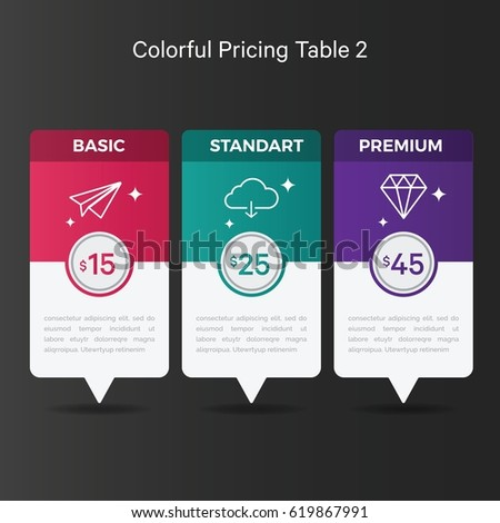 Colorful pricing table graphic design elements stock for Table design graphic