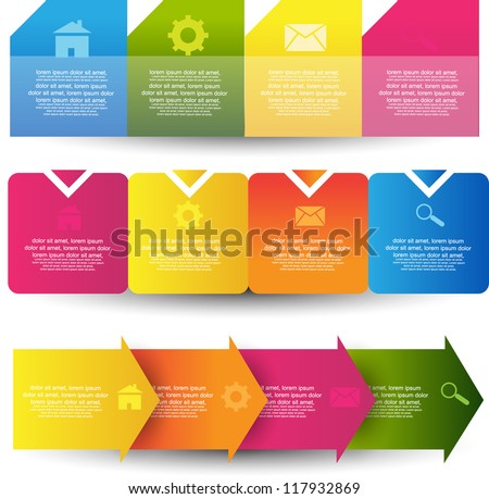 colorful progress step with number options - stock vector
