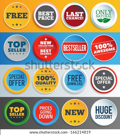 Colorful promo labels and stickers. EPS10. - stock vector
