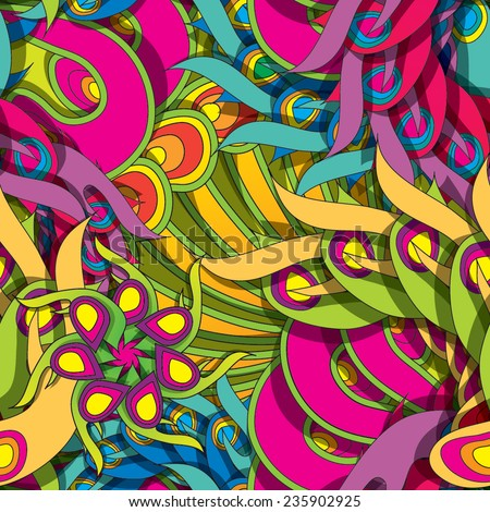 Colorful psychedelic seamless pattern eps10 - stock vector