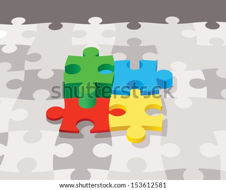 colorful puzzle, 3d vector concept - stock vector