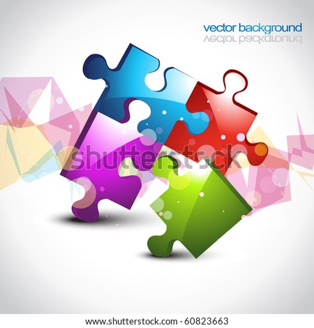 colorful puzzle eps10 vector artwork design background - stock vector