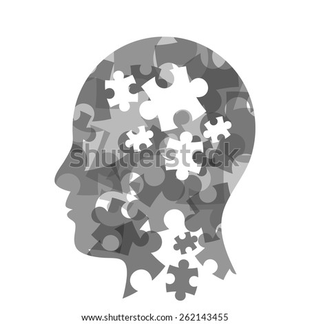 Colorful puzzle head concept presentation. Vector illustration graphic template. Isolated on white background. - stock vector