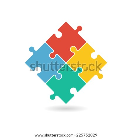 Colorful puzzle pieces forming a square in movement. Vector graphic illustration template isolated on white background. - stock vector