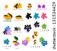 Colorful Puzzle Pieces Isolated On White Background - Vector Illustration, Graphic Design - Editable For Your Design Puzzle Logo  - stock vector
