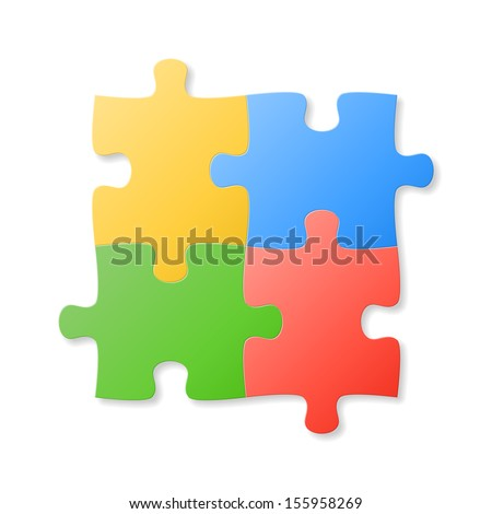 Colorful puzzle pieces on the white background. Vector illustration. - stock vector