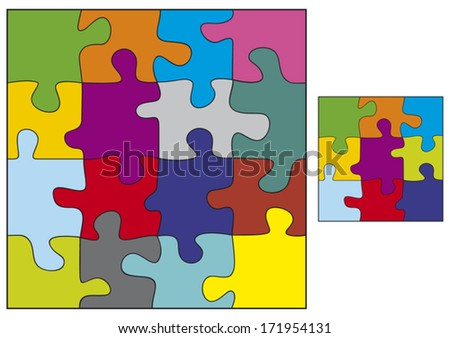 colorful puzzle vector illustration