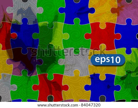 Colorful puzzle vector illustration. Eps 10. - stock vector