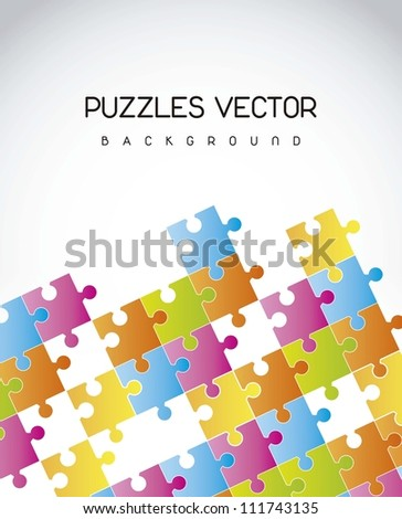 colorful puzzles over gray background. vector illustration