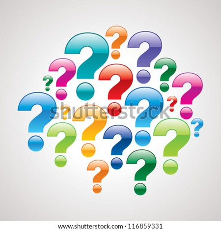 colorful question mark icons - stock vector