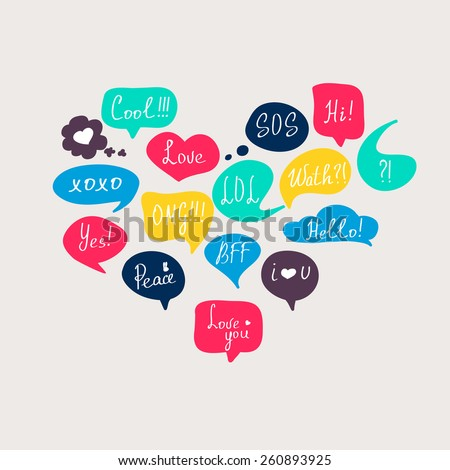 Colorful questions speech bubbles set in flat design with short messages. - stock vector