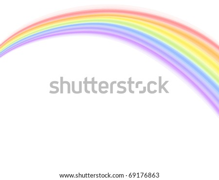 Colorful rainbow over white background. Vector illustration, saved as EPS AI 8, no gradients, no blends, no effects, easy print. - stock vector